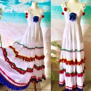 Antica Santoria Maxi Pompoms Resort  Dress